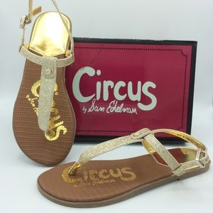 NEW SAM EDELMAN Circus Clarissa Gigi sandals gold
